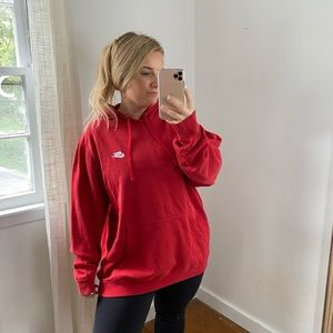 Nike Red Hooded Sweatshirt Classic Embroidered Logo XXL
